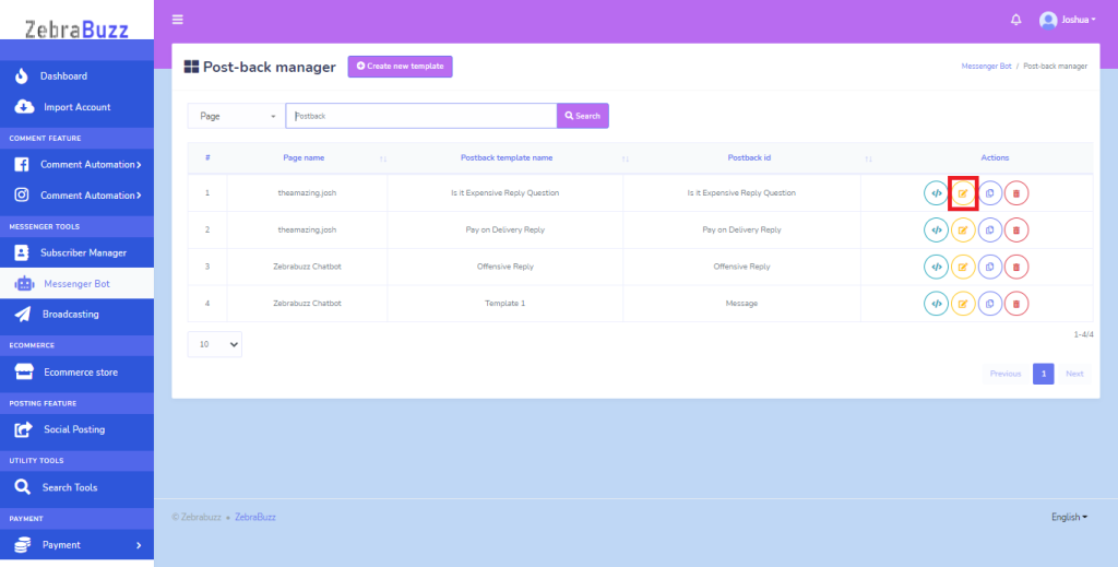 list of Post Back templates will be displayed